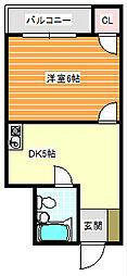 モンレーブ住之江[4階]の間取り