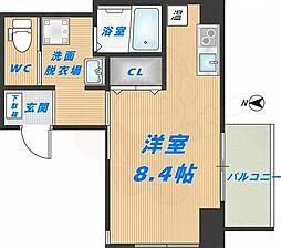 みおつくし高井田 2階ワンルームの間取り