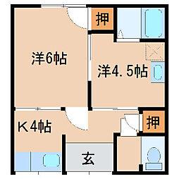 杭の瀬アパート2[1号室]の間取り