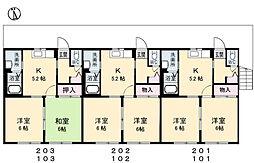 シャーメゾン ソレイユ B棟[202号室]の間取り