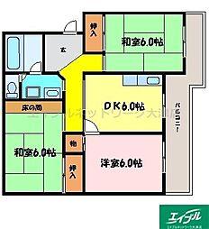 滋賀県大津市坂本6丁目の賃貸マンションの間取り
