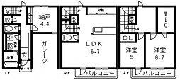 [テラスハウス] 大阪府東大阪市中鴻池町2丁目 の賃貸【大阪府 / 東大阪市】の間取り