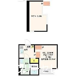 福岡県福岡市博多区東比恵3の賃貸アパートの間取り