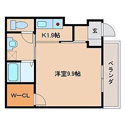 近鉄大阪線 大和八木駅 徒歩16分の賃貸アパート 1階1Kの間取り