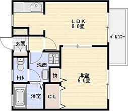 キャンベル山本[1階]の間取り
