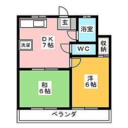 第2武蔵マンション 4階2DKの間取り