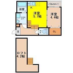 愛知県名古屋市天白区塩釜口2丁目の賃貸アパートの間取り