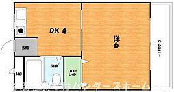 大阪府枚方市御殿山町の賃貸マンションの間取り