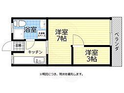 JR中央線 武蔵小金井駅 バス3分 前原町下車 徒歩3分の賃貸アパート 1階2Kの間取り
