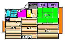 クレールメゾン[B-203号室]の間取り