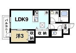 奈良県生駒市中菜畑2丁目の賃貸アパートの間取り