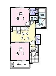 埼玉県所沢市大字中富の賃貸アパートの間取り