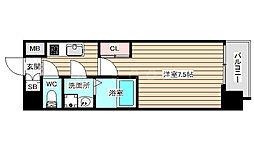 S-RESIDENCE福島grande 9階1Kの間取り