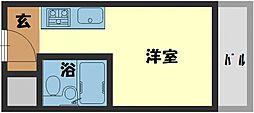 ヴィラ守口 4階1Kの間取り