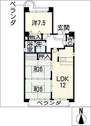 エスニートキクヤ[3階]の間取り