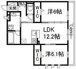 京都府京都市伏見区中島外山町の賃貸アパートの間取り
