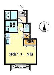 徳島県徳島市国府町早淵の賃貸アパートの間取り