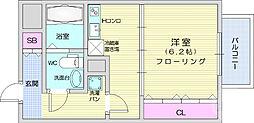 ヴィアーレ八幡3丁目 8階1DKの間取り