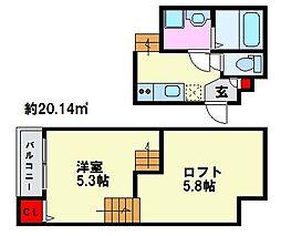 K・コスモ井尻[204号室]の間取り