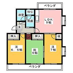 レジデンスタカオカ[1階]の間取り