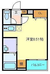 仙台市営南北線 愛宕橋駅 徒歩8分の賃貸アパート 2階ワンルームの間取り