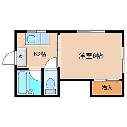 静岡県静岡市清水区大坪1丁目の賃貸アパートの間取り