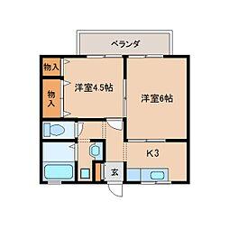 奈良県奈良市築地之内町の賃貸アパートの間取り