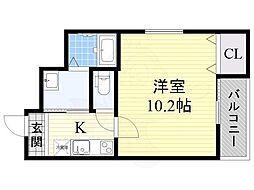 JR阪和線 鳳駅 徒歩6分の賃貸アパート 1階1Kの間取り