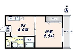 パレス高井田[105号室]の間取り