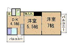 マンションクラウン[3階]の間取り