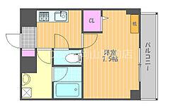 JR宇野線 大元駅 徒歩7分の賃貸マンション 5階1Kの間取り