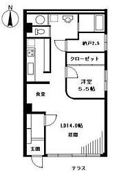 ハラダサンパークマンション恵比寿台[1階]の間取り