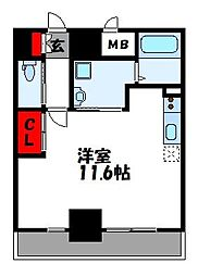 LUXE ONE 7階ワンルームの間取り