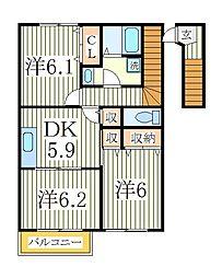 ソレアード・フロレスタII[2階]の間取り
