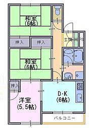 ハイツ竹風[2階]の間取り