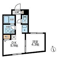 東京メトロ副都心線 西早稲田駅 徒歩2分の賃貸マンション 4階1DKの間取り
