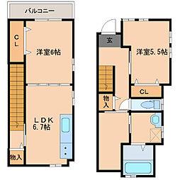 [テラスハウス] 福岡県久留米市西町 の賃貸【/】の間取り