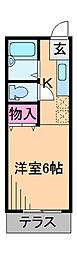 神奈川県横浜市港北区日吉2丁目の賃貸アパートの間取り