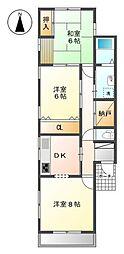 浅野大門コーポ[1階]の間取り