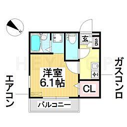 愛知県名古屋市瑞穂区津賀田町3丁目の賃貸アパートの間取り