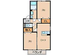 メゾンフローラA棟[2階]の間取り