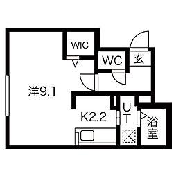 札幌市営東西線 バスセンター前駅 徒歩6分の賃貸マンション 1階1Kの間取り
