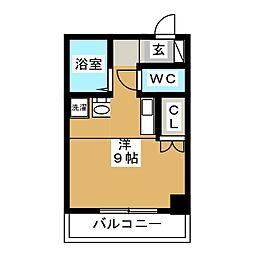 アートヒルズ 9階ワンルームの間取り
