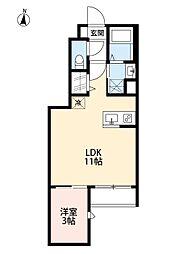 仙台市地下鉄東西線 六丁の目駅 徒歩10分の賃貸アパート 1階1LDKの間取り