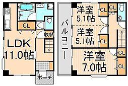 パークハイツ桜木[1-A号室]の間取り