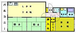 フレグランスたまきⅡ[4階]の間取り