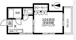 スリーエイト十条[1号室]の間取り