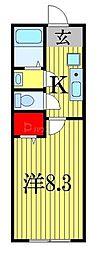 JR総武線 西船橋駅 徒歩21分の賃貸アパート 2階1Kの間取り
