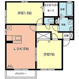 ウィルモアK A[2階]の間取り