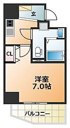エグゼ阿倍野 8階1Kの間取り